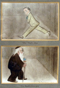 "Two of Beerbohm's self-portraits. ""The Theft"" depicts him stealing a book from the library in 1894. ""The Restitution"" shows him returning that book in 1920."